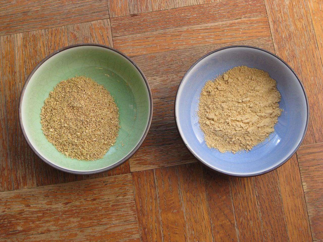 pounded ginger in bowls