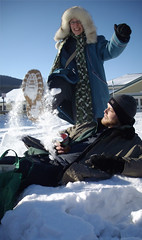 Dan Monceaux & Emma Sterling of Supermarket frolick in the snow, Dawson City, Canada 2008 (danimations) Tags: supermarket danimations danmonceaux emmasterling snow dawsoncity kiac yukon canada filmfestival fun playing frolicking frolick kick play