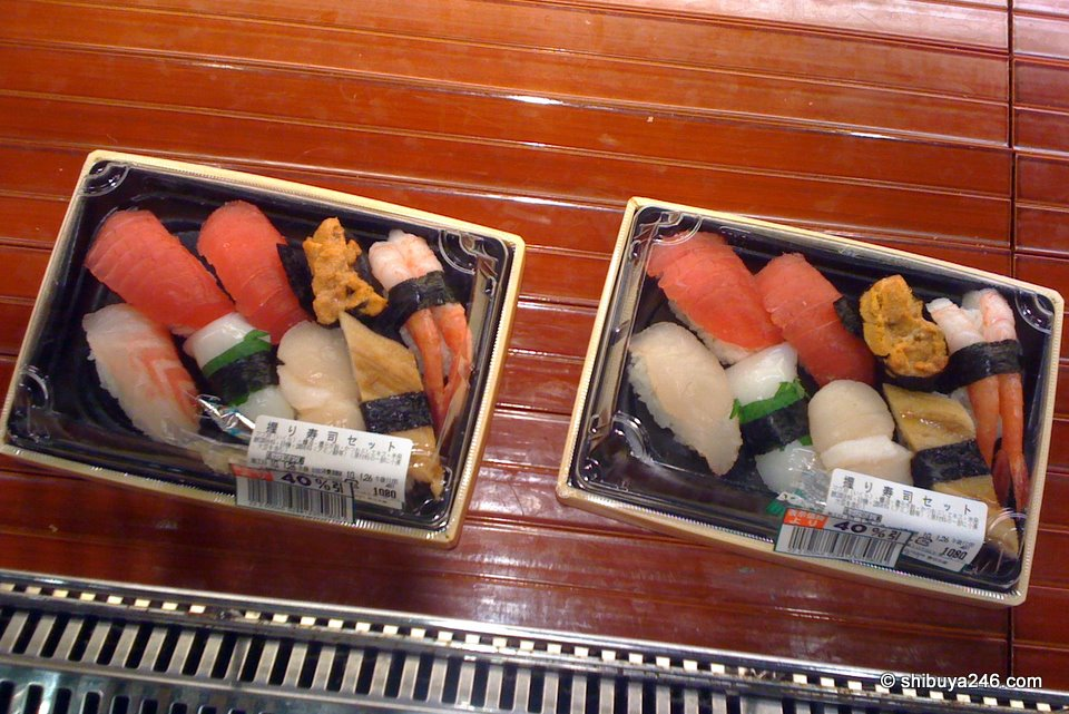 Some sushi going here for a 40% discount. Starting price is Yen 1,080. You can see there is not much left, just these 2 boxes.