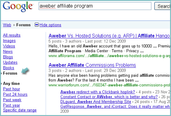 Search for affiliate program reviews: forum search