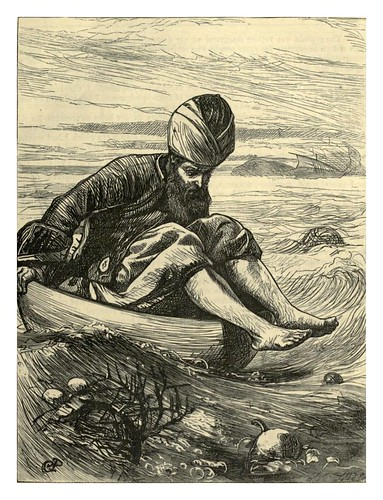 027-Simbad en la bañera- J. G. Pinwel-Dalziel's Illustrated Arabian nights' entertainments (1865)l