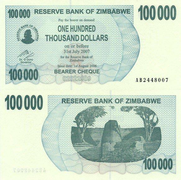 100 000 dolárov Zimbabwe 2006