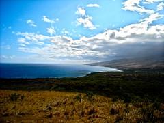 Hana (an infinity in silence) Tags: ocean blue trees shadow sea sky brown sun mountain green water clouds landscape hawaii waves wave maui hana shore shade portfoliolandscape coolpixl18 fabulousplanet beautifulflowersandlandscape