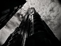pyramid of mammon (mugley) Tags: urbanlandscape lookup bataphobia buildings postmodern architecture skyscraper tower anzworldhq peddlethorp bank windows reflections blacksky clouds cloudage cloudporn vignetting keystoning moody ominous foreboding dark grain city urban corner queenst ltcollinsst cbd melbourne victoria australia mamiya645 m645 mamiya645protl 35mmf35sekorn prime rollei r3 120 6x45 645 mediumformat blackandwhite bw negative film rolleir3 25a redfilter polariser polarizer xtol scan epson v700
