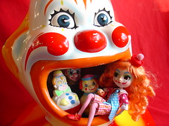 In and Out of the Garbage Can (raining rita) Tags: carnival clown cover pullip midway 1977 1972 mouthful thefirstyears sanitoyinc gestalttherapy rolypolyclown inandoutofthegarbagepail fredericksperls trashcancover reithoffershowinc tinybestymccallsclowncostume