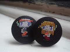 Cave Story cufflinks (benjibot) Tags: clothing crossstitch crafts videogames cufflinks cavestory