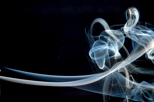 smoke: blue on black