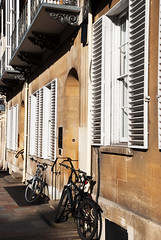 Beaumont Street (Mike Groom Photography) Tags: street autumn sunshine stone student warm scratches bicycles oxford shutters scratch beaumont randolph