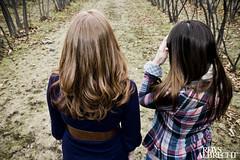 lauren | michaela (Rhys Albrecht) Tags: pink blue trees girls red brown lauren girl look grass sisters hair back belt head curls away plaid michaela