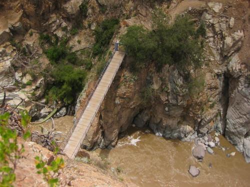 looking down at the bridge