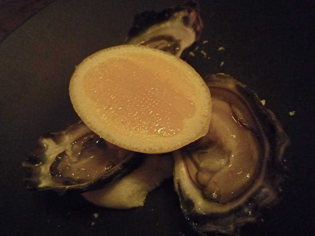 Trio of Moonlight Flat oysters