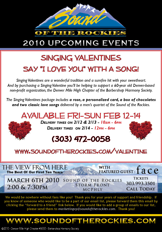 Sound of The Rockies Upcoming Events, 2/9/2010