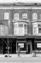 760-764 Queen St E, left half - March 30, 2003 (collations) Tags: blackandwhite toronto ontario architecture documentary vernacular streetscapes builtenvironment queenstreeteast queenste urbanfabric