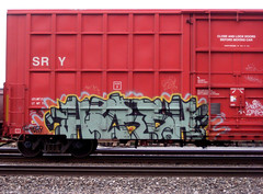 Harsh (liquidnight) Tags: seattle red graffiti traincar harsh catalyst freights benching ephemeralart