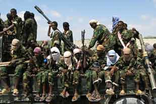 The al-Shabab resistance group in Somalia has been fighting for over a year to seize power in the Horn of Africa nation. The US is backing the TFG and has deployed flotillas of warships off the coast in the Gulf of Aden. by Pan-African News Wire File Photos