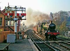 Taking the token (geoffspages) Tags: geotagged railway steam gwr bewdley bradleymanor 7802 uksteam geo:lat=52376054 geo:lon=2307765