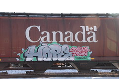 Crowns Down Themselves (A & P Bench) Tags: canadian freight train graffiti bench benching pacific freightgraffiti freighttraingraffiti photography bloody wheaties big red canada hoppers canadahopper hopper wheat grain car cylindrical graff graf freighttrain railroad spraypaint trains art rolling stock benched benchers steel painted railway railfan rail fan piece railcar rollingstock traingraffiti