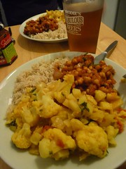 Aloo gobi, chana masala and rice