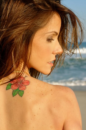 Flower Tattoo Design on Girl Shoulder