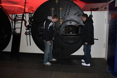 Kevin and Ben admiring the steam boilers at The Tower Bridge, London.  Much larger than the H24 boiler. (Hangar 24 Craft Brewery) Tags: ca bridge ireland england ford beer europe kevin ben jessica hangar cook award craft trent brewery kristi 24 wright guiness distillery js section redlands upon burton 2010 midlands jameson ibd marstons zerek