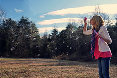 Bubble Love! (Tiffanyx23) Tags: pink blue white color nature grass clouds scarf landscape outside sweater hand legs many bubbles blowing blow jeans bubble lots