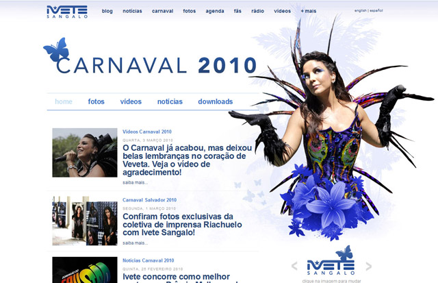 Hotsite Carnaval 2010 - Tema borboleta