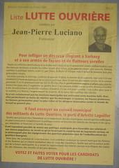 Jean-Pierre Luciano (emmanuelsaussieraffiches) Tags: poster political politique affiche lutteouvrire