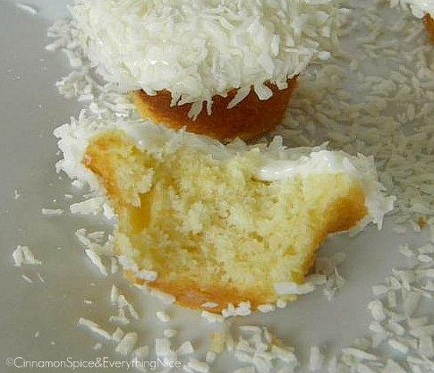 Vanilla Coconut Snowball Cupcakes w/ Sour Cream Frosting