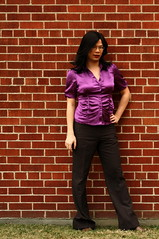Kate with Attitude (tgirl-katie) Tags: asian tv purple outdoor cd chinese tgirl transgender brickwall tranny casual satin transexual transgendered crossdresser ts tg transsexual ladyboy workclothes  m2f trangendered   purpletop  newhalf purpleblouse