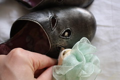 Attaching Ribbon Flower to Shoe