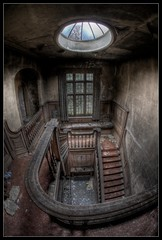 The Crooked Smile (Romany WG) Tags: urban house abandoned beautiful smile stairs decay sigma hallway fisheye bannisters manor explorers exploration 15mm crooked decayed potters decaying dereliction urbex ballistrade hauntingly
