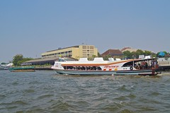 Tourist boat on the Chao Phraya river in Bangkok, Thailand (UweBKK ( 77 on )) Tags: water river thailand boat asia bangkok sony transport tourist transportation southeast alpha dslr chaophraya 550