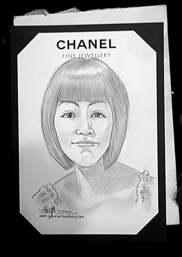 Portrait live sketching for Chanel Fine Jewellery Exhibition Day 1 - 5