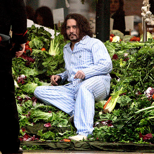 Johnny Depp en pijamas verduras