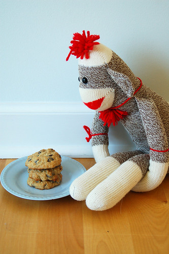 9 out of ten sock monkeys prefer Banana Walnut Chocolate Chip Cookies to actual bananas.