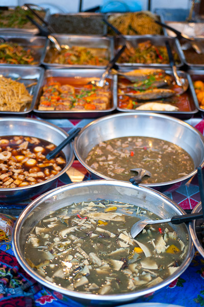 A variety of soups and curries at Vientiane's Ban Anou Evening Market, Laos
