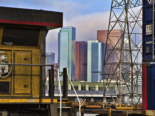 LA skyline and train