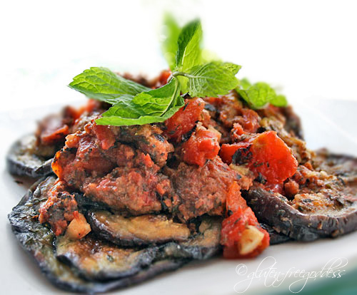 Eggplant and crumbled organic beef recipe with tomatoes and mint
