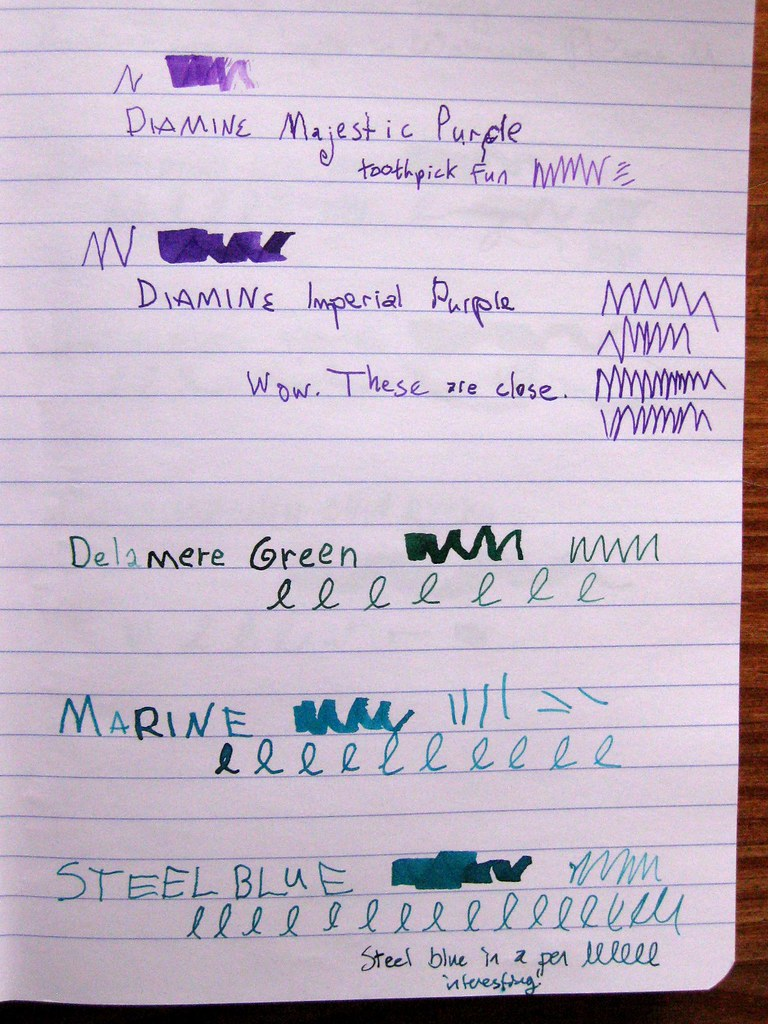 5 Diamine inks in ink journal, II
