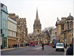 Oxford, England (CameliaTWU) Tags: street england cars church buildings oxford pedestrians