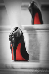 Walking wounded (lucyd*) Tags: red black stairs shoes pumps highheels steps staircase heels stilettos patent dcollet selectivecoloring nikkor35mmf2 loveitorhateit blackpatent 110cm redsoles 412in removedallthefaves