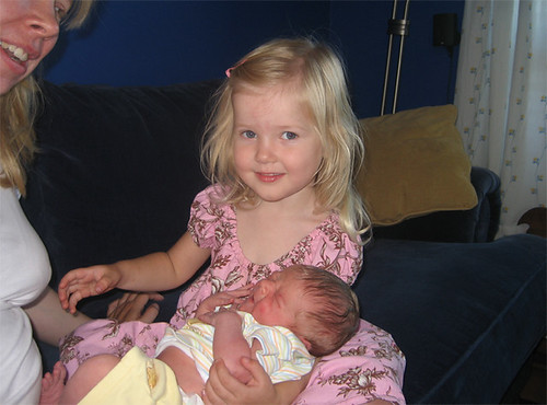 Big sister Hannah meets newborn baby Jacob