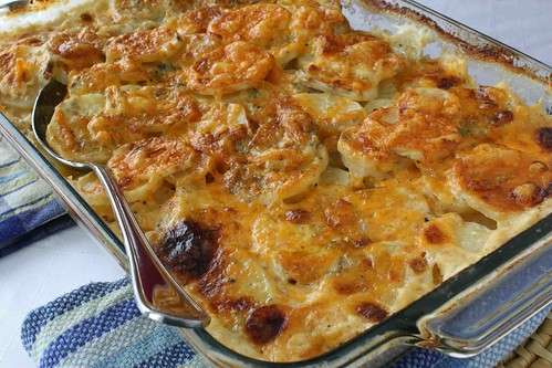 Scalloped Potatoes Recipe with Gorgonzola, Parmesan & Cheddar Cheeses