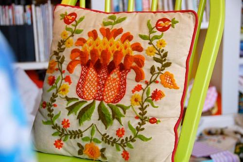 thrifted crewel pillow