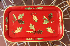 Oak Leaf Tray (Calsidyrose) Tags: red nature oakleaves servingtray metaltray vintagegraphicsartillustration