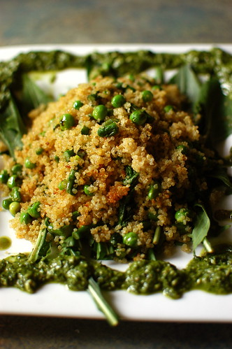 quinoa with asparagus, English peas, dandelion greens, and a kale-walnut pesto