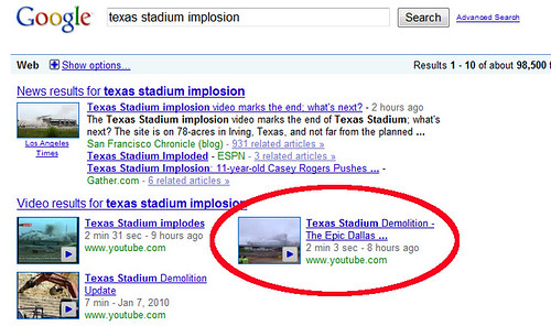 Texas Stadium Implosion in Google SERPs