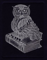 сова -серебро-синий 001 (tim.spb) Tags: original etching postcard small ornament owl plates desigh ãðàôèêà открытки графика малые символ сова aquafortis формы ìàëûå мудрости печатные ïîофорт