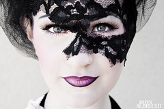 chelsey with makeup and a lace veil (Rhys Albrecht) Tags: portrait black girl face eyes eyelashes veil purple lace makeup lips lipstick tulle chelsey