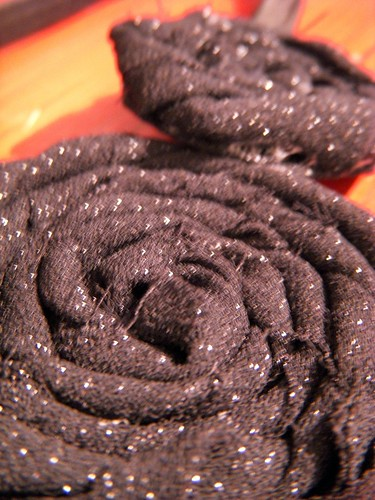 Sparkly Fabric Flower Headband Close